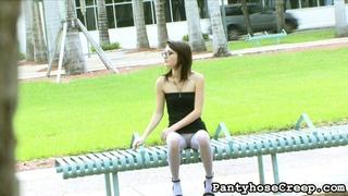 model, pantyhose, public, slim