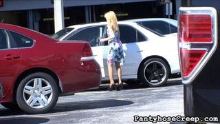 blonde, pantyhose, posing