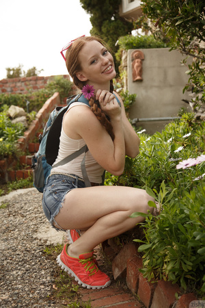 Sweet redhead in pigtails goes up a hill - XXX Dessert - Picture 2