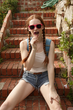 Sweet redhead in pigtails goes up a hill - XXX Dessert - Picture 3