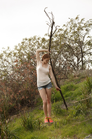 Sweet redhead in pigtails goes up a hill - XXX Dessert - Picture 6