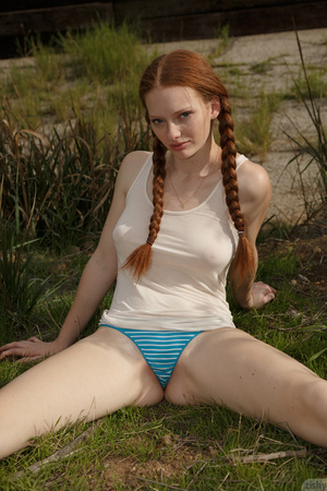 Sweet redhead in pigtails goes up a hill - XXX Dessert - Picture 10