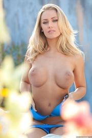 foxy blonde blue bikini