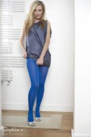 slender blonde blue pantyhose