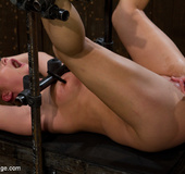 Blonde with perky tits bound and fucked with a machine