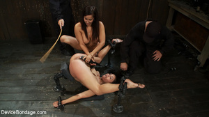 Lesbian brunette toyed and fucked by a l - XXX Dessert - Picture 12