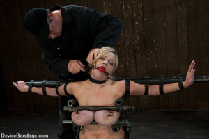 Curvy blonde slave gets her tits squeeze - XXX Dessert - Picture 4