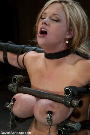 Curvy blonde slave gets her tits squeeze - XXX Dessert - Picture 10