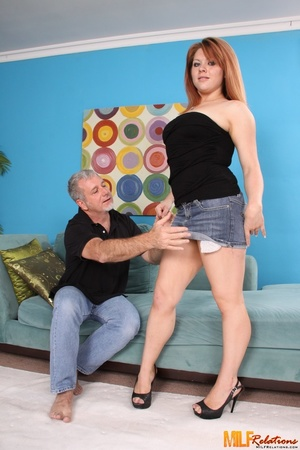 Redhead cougar slowly peels off her blac - XXX Dessert - Picture 1