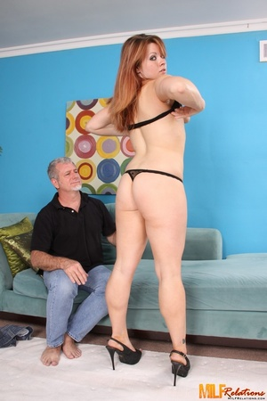 Redhead cougar slowly peels off her blac - XXX Dessert - Picture 2