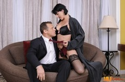 alluring housewife opens her