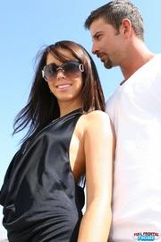 foxy brunette wearing sunglasses