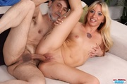 banging blonde slowly peels