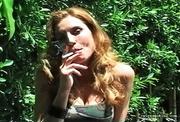 lovely milf lady smokes