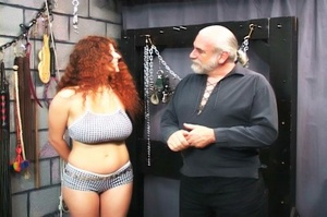 Chubby redhead gets chained and blindfol - XXX Dessert - Picture 1
