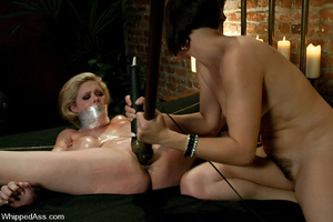 Oiled up blonde toyed and waxed by brune - XXX Dessert - Picture 10