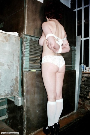 Redhead in bondage loves clothespins on  - XXX Dessert - Picture 2