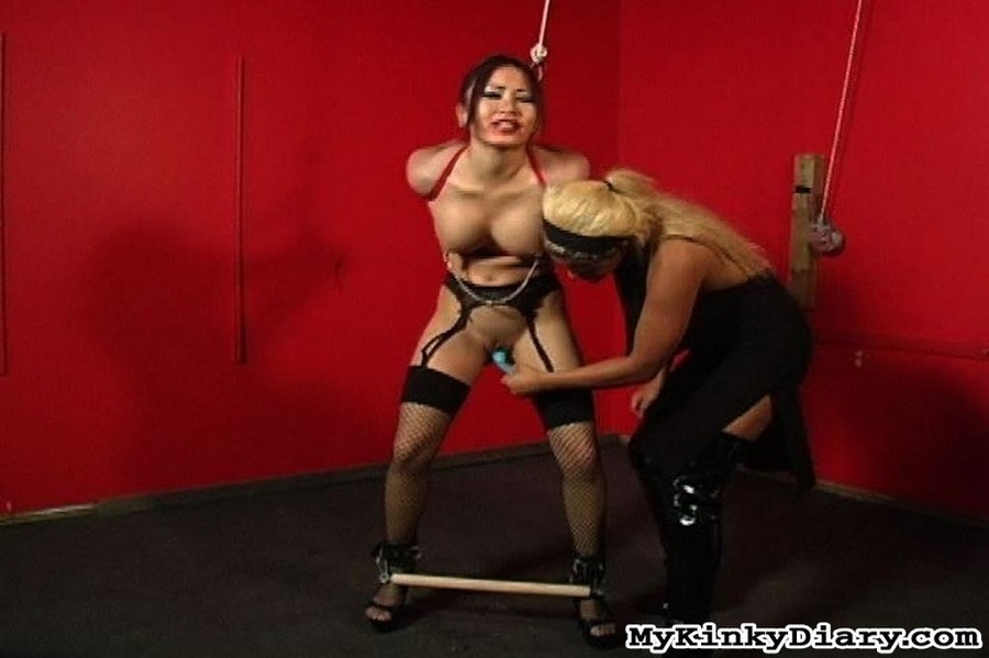 Asian Nipples Clamped