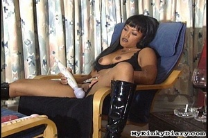 Smoking Asian got pleasured by a vibrato - XXX Dessert - Picture 2
