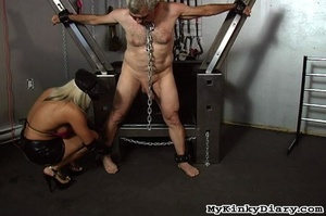 Old man in chains gets tortured by two b - XXX Dessert - Picture 3
