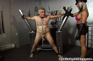 Old man in chains gets tortured by two b - XXX Dessert - Picture 4