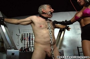 Old man in chains gets tortured by two b - XXX Dessert - Picture 10