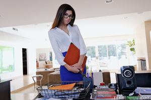 Beautiful slut in glasses and black undi - XXX Dessert - Picture 1