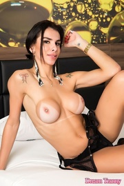 brunette t-girl with tattoos