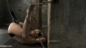 Teasing blonde captured, bound and toyed - Picture 11