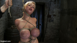 Busty blonde slave in rope bondage fed w - XXX Dessert - Picture 2