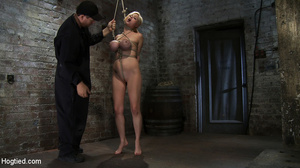 Busty blonde slave in rope bondage fed w - XXX Dessert - Picture 4