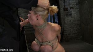 Busty blonde slave in rope bondage fed w - XXX Dessert - Picture 7