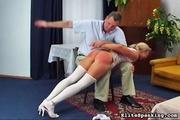 sexy blonde white stockings
