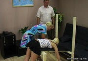 blonde lets man spank