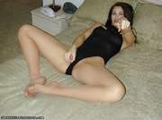 pale-skinned chick pantyhose lying