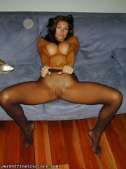 gorgeous lady excites with