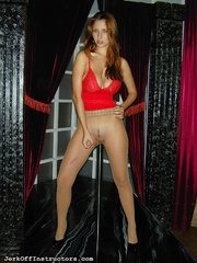 big-titted strip dancer demonstrates