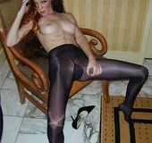 Red-haired candy tries sexy pantyhose of different colors