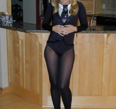 Teen knows that we can see her pussy through the pantyhose