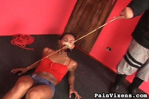 Stunning ebony model enjoys in a painful - XXX Dessert - Picture 4
