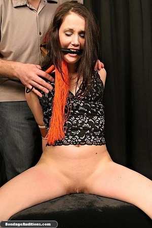Tied up lady shows her perfect round but - XXX Dessert - Picture 12