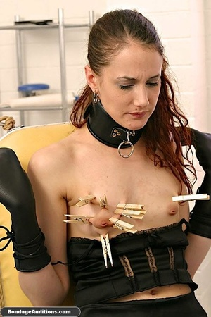 Cute brunette model likes clothespins on - XXX Dessert - Picture 4