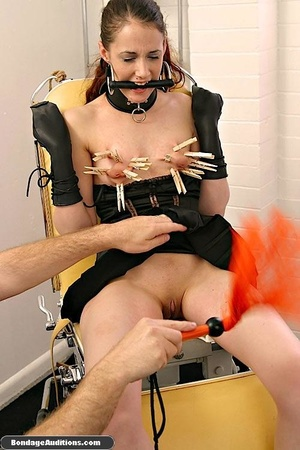 Cute brunette model likes clothespins on - XXX Dessert - Picture 8