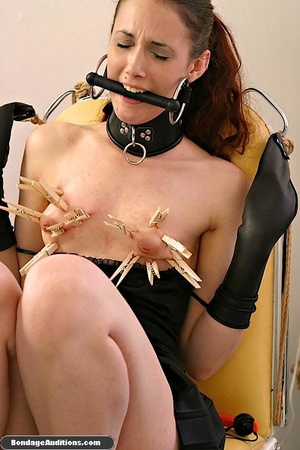 Cute brunette model likes clothespins on - XXX Dessert - Picture 10