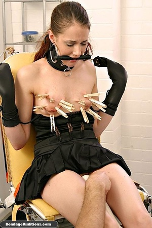 Cute brunette model likes clothespins on - XXX Dessert - Picture 14