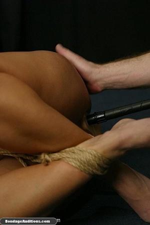 Blonde chick in bondage sucks a dildo wi - XXX Dessert - Picture 16