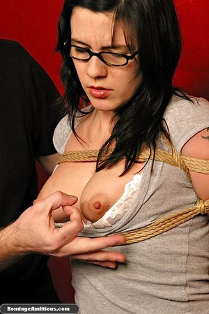 Slutty girl with glasses gets tied up an - XXX Dessert - Picture 4