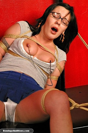 Slutty girl with glasses gets tied up an - XXX Dessert - Picture 10