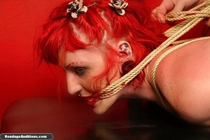 Redhead hottie gets tied and sucks a bla - XXX Dessert - Picture 7