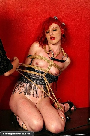 Redhead hottie gets tied and sucks a bla - XXX Dessert - Picture 14